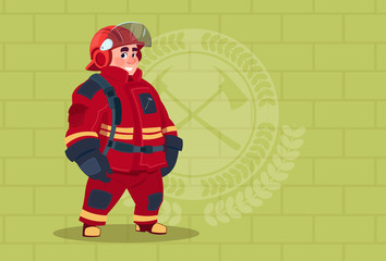 Fireman Wearing Uniform And Helmet Adult Fire Fighter Stand Over Brick Background Flat Vector Illustration
