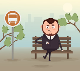 Angry nervous businessman office worker character waiting late bus look at watch and sitting on station. Vector flat cartoon illustration