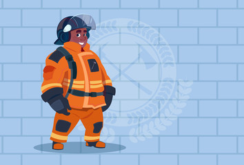 African American Fireman Wearing Uniform And Helmet Adult Fire Fighter Stand Over Brick Background Flat Vector Illustration