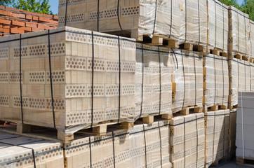 Pallets of yellow brick