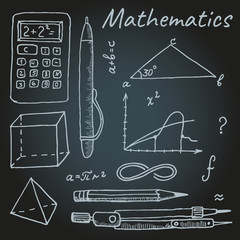 Set of objects for classes in mathematics, a sketch marker. Vector
