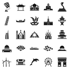 World religion icons set, simple style