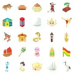 World travel icons set, cartoon style