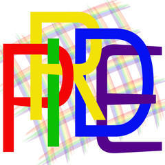 Text Pride.   Using original rainbow colors.  Unconventional sexual orientation for LGBT gay and lesbian parade. Vector logotype design .