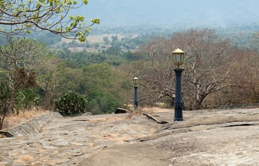 Public lighting on the way to the temple of Dambulla.