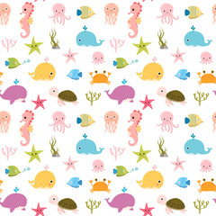 Cute vector colorful seamless pattern with sea animals for kids and baby summer designs