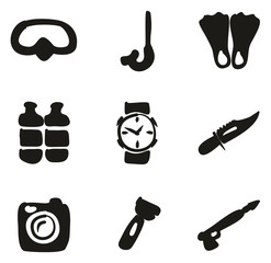 Diving Gear Icons Freehand Fill