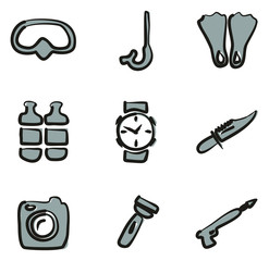 Diving Gear Icons Freehand 2 Color