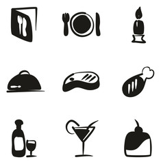 Dinner Icons Freehand Fill