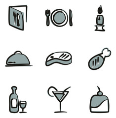 Dinner Icons Freehand 2 Color