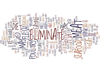 ELIMINATE SEAFOOD Text Background Word Cloud Concept