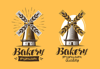 Bakery, bakehouse logo or icon. Bread, mill, windmill label. Lettering vector illustration