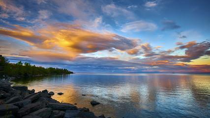 Golden Orange Sunset Seascape