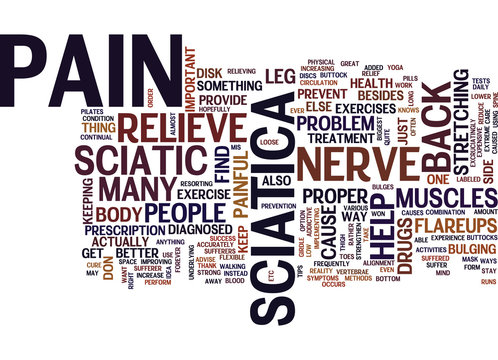BEST WAY TO RELIEVE SCIATIC NERVE PAIN Text Background Word Cloud Concept