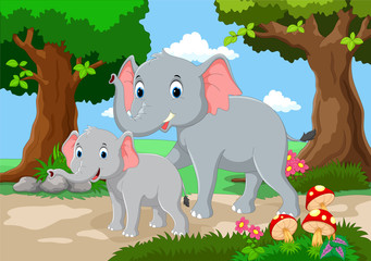 Cute mother and baby elephant with a background of a beautiful garden
