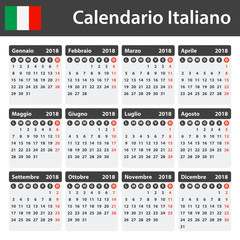 Italian Calendar for 2018. Scheduler, agenda or diary template. Week starts on Monday
