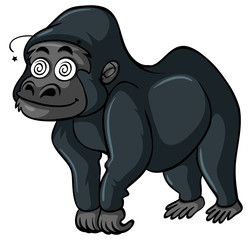 Gorilla with dizzy face