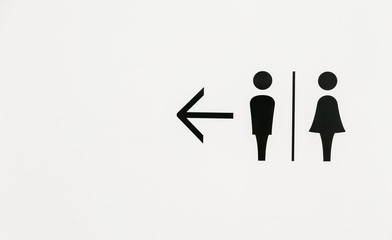Man and lady toilet sign on white backround