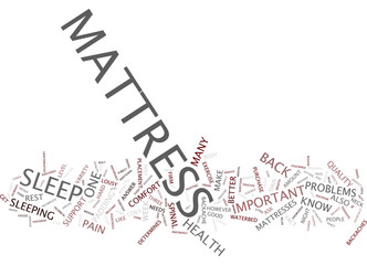 YOUR MATTRESS CAN MAKE OR BREAK YOU Text Background Word Cloud Concept