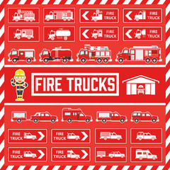Vector Fire Trucks in Flat Design, Set of Icons and Signs of Fire Trucks for Book and Web Decoration, Cute Safety Fireman Cartoon