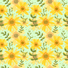 Floral seamless background with daisy flowers. Childish pattern for textile, wallpaper, scrapbooking, decoupage.