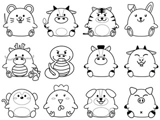 Simple outline cute fatty cartoon of chinese zoidac horoscope animal sign collection set
