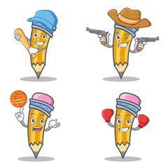 Set of pencil character with baseball cowboy basketball boxing