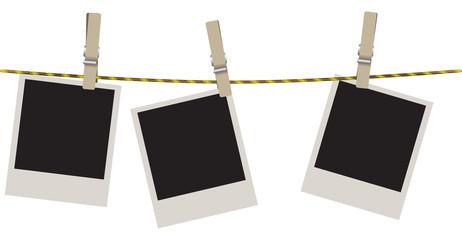 Polaroid shots on clothesline