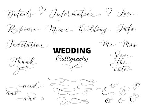 Wedding hand written calligraphy set isolated on white. Great for wedding invitations, cards, banners, photo overlays.