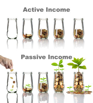 Active and Passive income concept of Gold coins and seed in clear bottle with text on white background,Business investment growth concept,