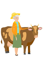 Senior farmer standing with crossed arms near cow.