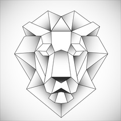 African lion head icon. Abstract triangular style. Contour for tattoo, logo, emblem and design element