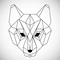 Geometric vector head wolf drawn in line or triangle style, suitable for modern tattoo polygonal templates, icons or logo elements.
