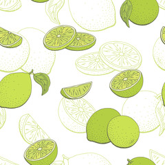 Lime fruit graphic color seamless pattern sketch background illustration vector