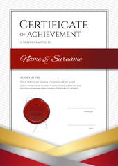 Portrait luxury certificate template with elegant golden border frame, Diploma design for graduation or completion