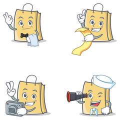 Set of bag character with waiter menu photo binocular