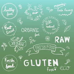 Set of hand drawn style badges and elements for organic food and drink, natural products,Vector illustrations.