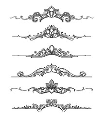 Floral design crown calligraphic elements. Linear royal tiara curly vector dividers for elegant wedding flourish invitations