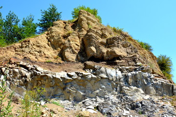 volcanic rock outcrops in the form of columnar basalt located in Racos, Romania. In an old roman abandoned career. It is a national protected area