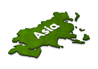 Map of Asia. 3D isometric illustration.