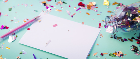 Paper with colorful decoration for copy space
