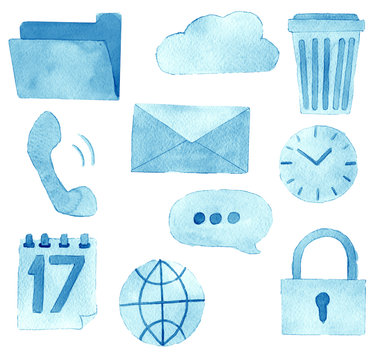 watercolor sketch of premium quality icons set of social media content posting and blogging and web site isolated on white background
