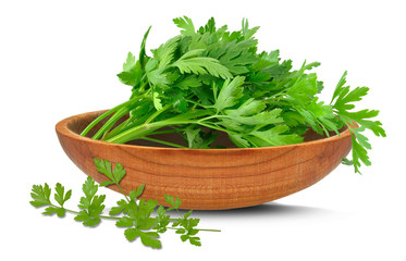 parsley leaves in a bowl isolated