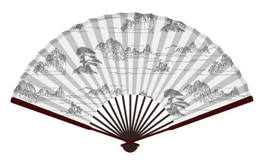Ancient Traditional Chinese Fan With Mountains And Clouds Paingting, Landscape, Paradise
