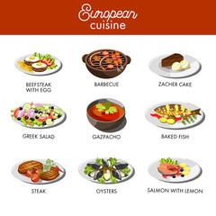 European cuisine food dishes for restaurant vector menu template