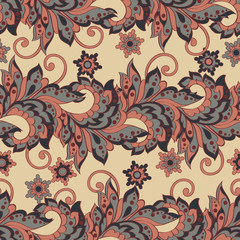 Vintage flowers Seamless Asian Textile Background