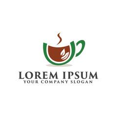 coffee green logo design concept template
