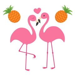 Pineapple fruit set. Pink flamingo couple and heart. Love family. Exotic tropical bird. Zoo animal kids collection. Cute cartoon character. Greeting card. Flat design. White background Isolated