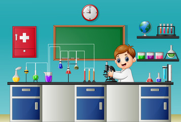 Cartoon boy experimenting with microscope in the chemical lab