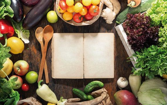 Around empty cookbook set healthy food. Healthy food background